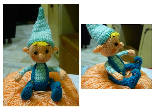 Crochet Cute Christmas Blue Elf Pattern in pdf format