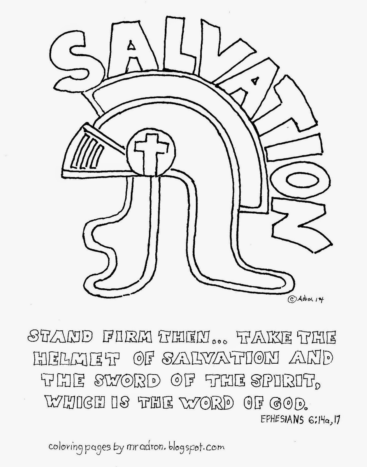 Coloring Pages for Kids by Mr. Adron: The Helmet Of Salvation Free ...