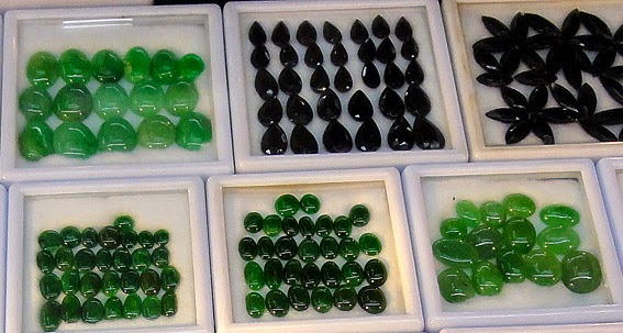 Beautiful green cabochons