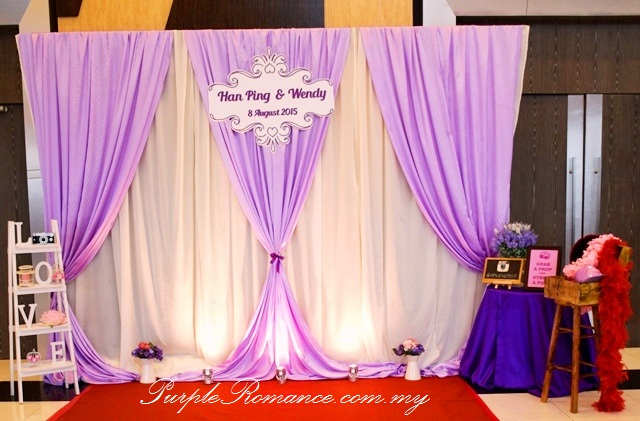 Photo Booth Backdrop Decoration, Silver Dragon Restaurant, Seremban 2, Green Dragon Restaurant, Kuala Lumpur, Selangor, wedding day, props, matching, red carpet, purple backdrop, draping, white ladder, wooden, treasure box, LOVE block wooden letters, logo, roses and hydrangeas, flower