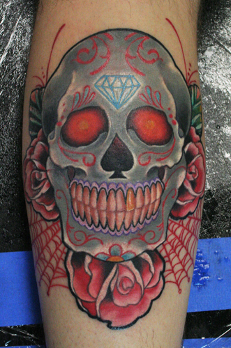 Funny car mexican day of the dead skull tattoo for Day of the dead skull tattoo