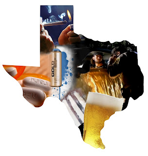 A collage of drug scenarios within a map of Texas