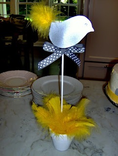 Yellow and Gray Bird with Yellow Feathers: Gray and Yellow Baby Shower