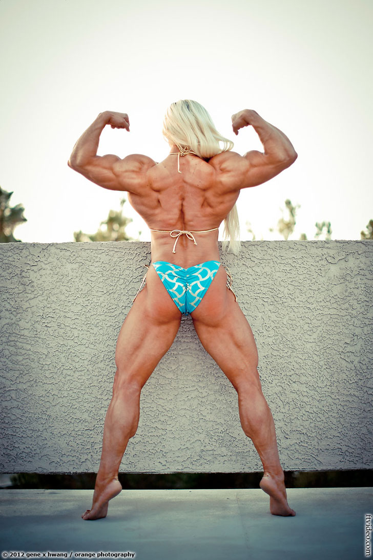 Brigita Brezovac's Back Double Bicep Flex And Muscular Calves