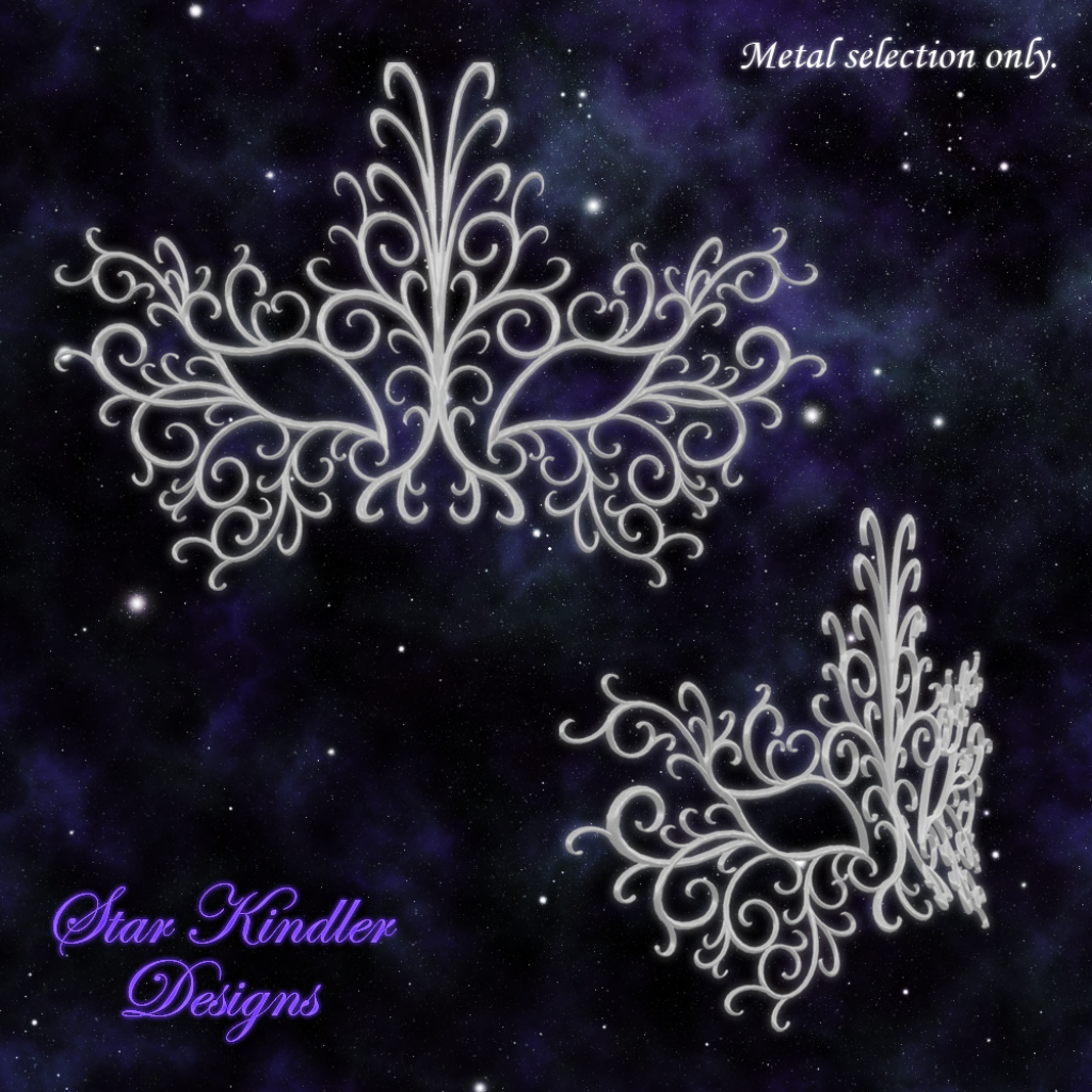 ... frosty blue silver) of the new filigree Scrollwork Masquerade Mask