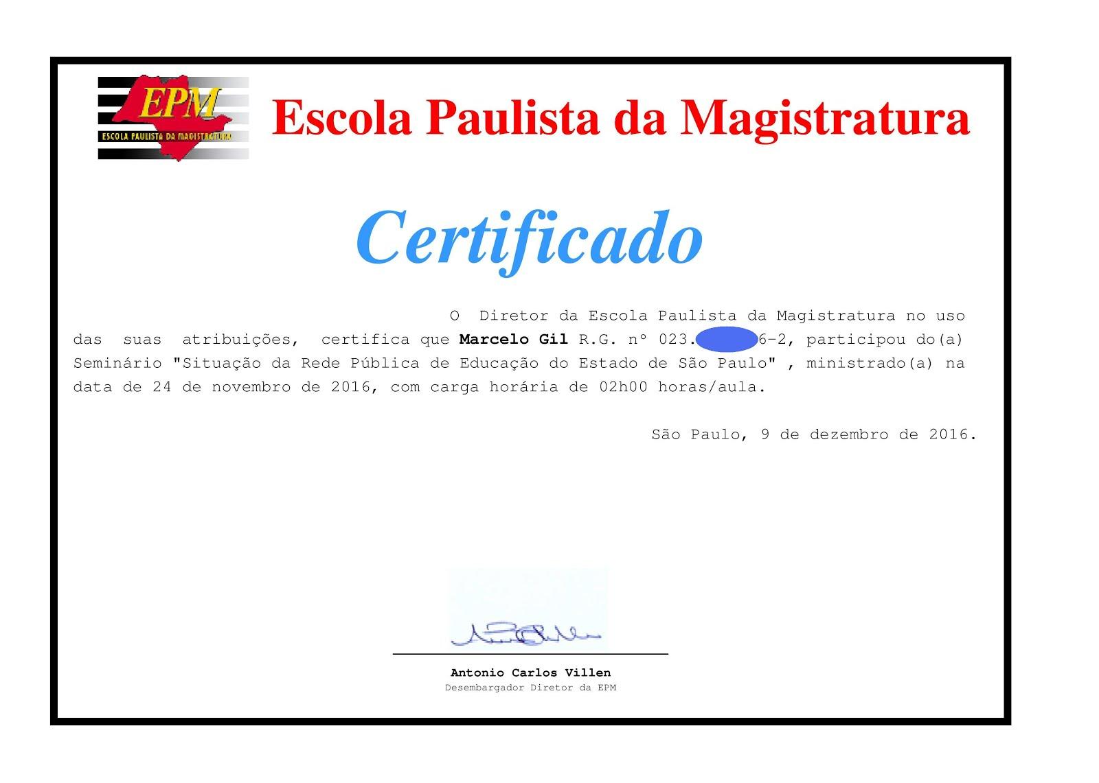 CERTIFICADO DA ESCOLA PAULISTA DE MAGISTRATURA CONCEDIDO À MARCELO GIL - 2016