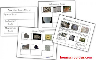 http://homeschoolden.com/2013/02/24/three-types-of-rocks-our-activities-and-a-free-worksheet-packet/