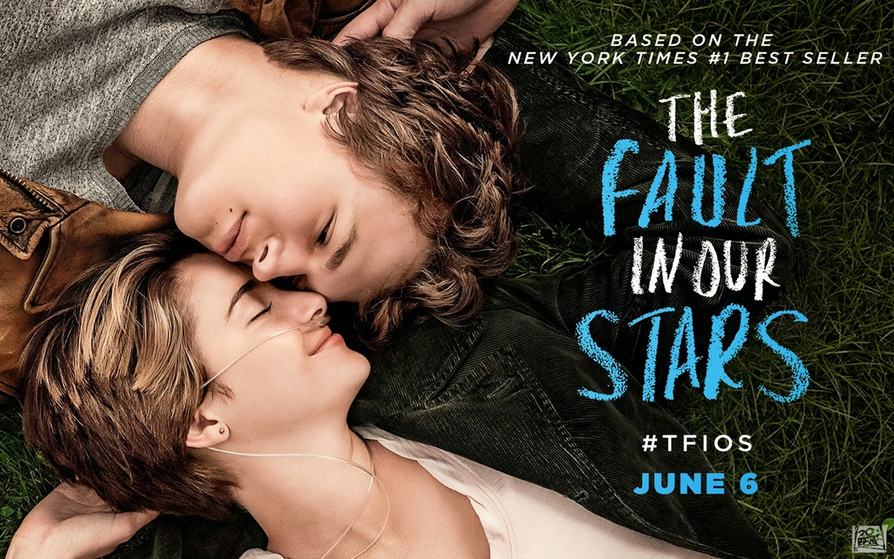 the fault in our stars movie poster, tfios poster, hazel grace lancaster and augustus waters, shailene woodley and ansel elgort