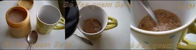 Preparando um cappuccino com a mistura feita anteriormente.