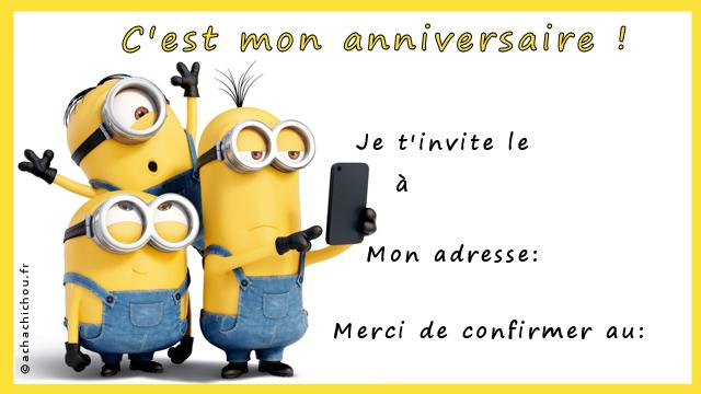 Super Carte D Anniversaire Minions | Amélie Hachette ZF58
