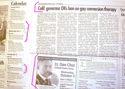 gay student group ad for OSU speech by Lt. Dan Choi and headline CA Gov. bans ex-gay therapy in Barometer Oct. 2, 2012, p. 2 and 7