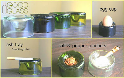 recycled glass for salt and pepper, ash tray and egg cups in Uganda