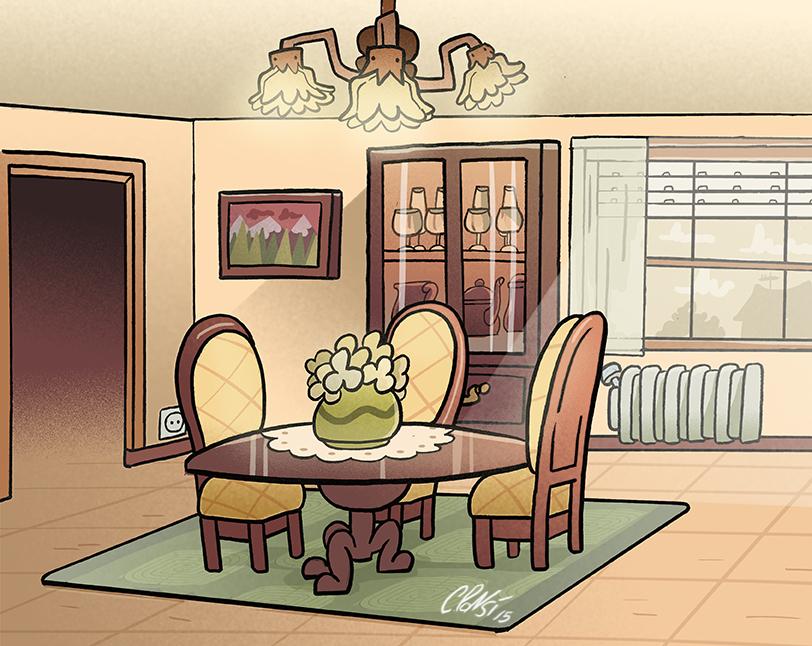 Sketch of dining room