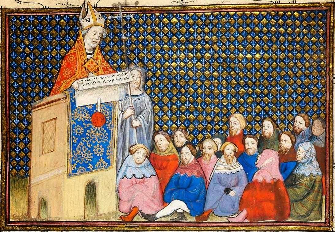 Arcepispo de Arundel prega ao povo na catedral de Canterbury. British Library MS Harley 1319 f12
