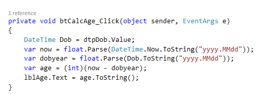 calculate age c sharp code