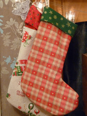 Stockings sewn from http://sewlikemymom.com/christmas-stockings-tutorial/