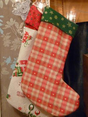 Stockings sewn from http://sewlikemymom.com/christmas-stockings-tutorial/