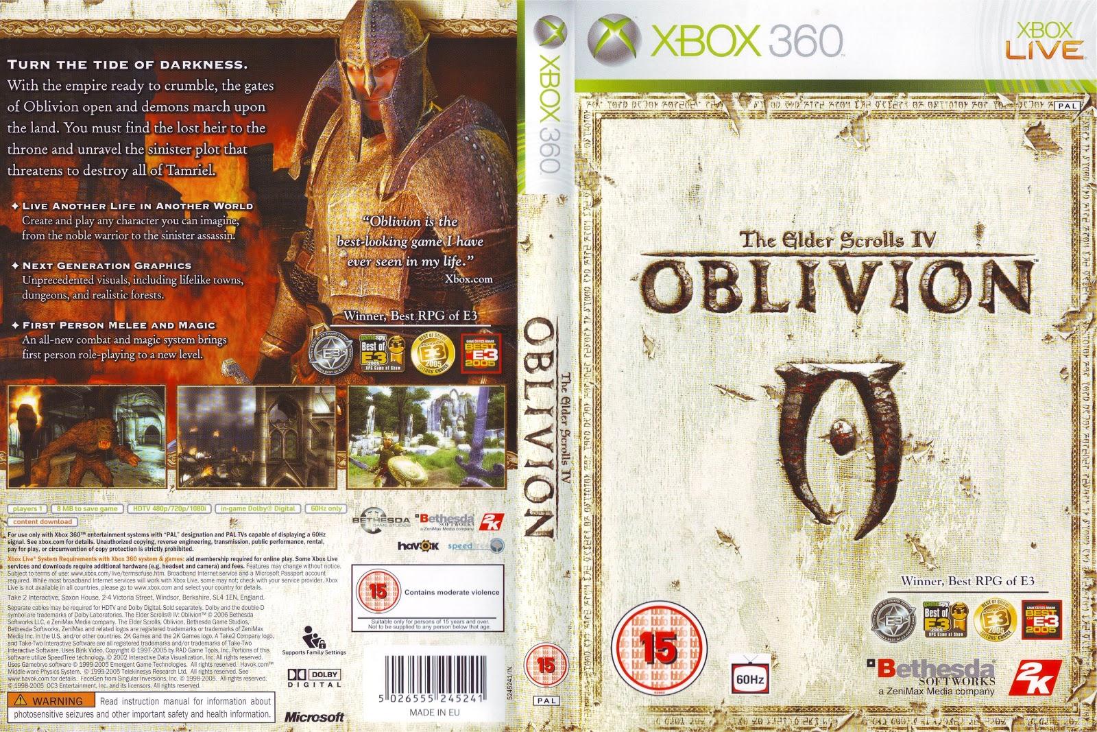 Capa The Elder Scrolls IV Oblivion Xbox 360
