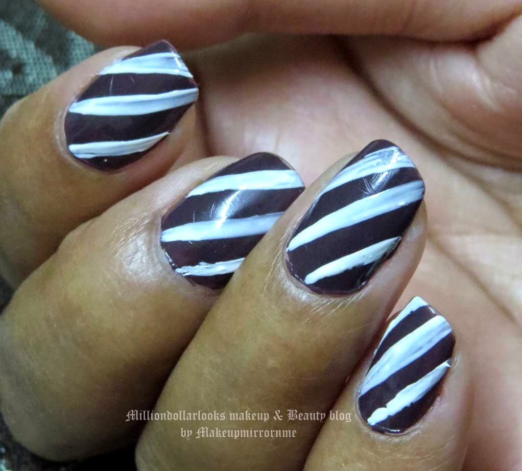Stripes nailart tutorial, Easy Nailart for Beginners: Stripes in white, Nailart of the day! Indian makeup and beauty blog, Makeupmirrornme, Maybelline colorshow nailarts, Nailart tutorial for beginners, Indian nailart blog, Maybelline colorshow range and swatches, DIY Nailart designs, Top beauty blogs in India