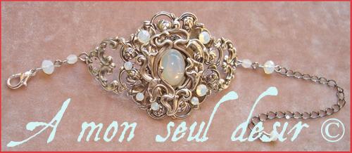 bracelet elfe elfique bijou blanche opale Arwen Galadriel elven jewel