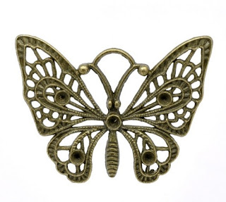 Large Antique Bronze Butterfly Charm / Pendant
