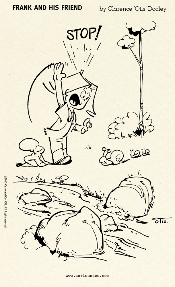 From: Frank and His Friend - Special Collector's Edition Vol.1 - © 2013 Curio & Co. - by Clarence 'Otis' Dooley - Illustration and design by Cesare Asaro under pseudonym Clarence 'Otis' Dooley - (Curio and Co. OG www.curioandco.com) - Kid playing with snails by a stream