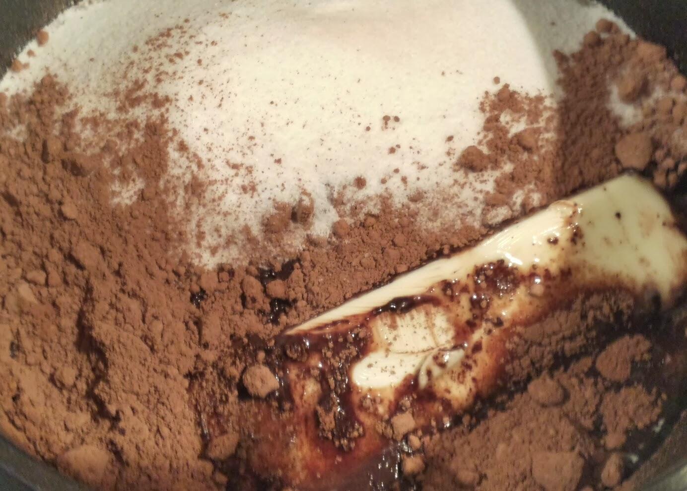 melting ingredients for brownies