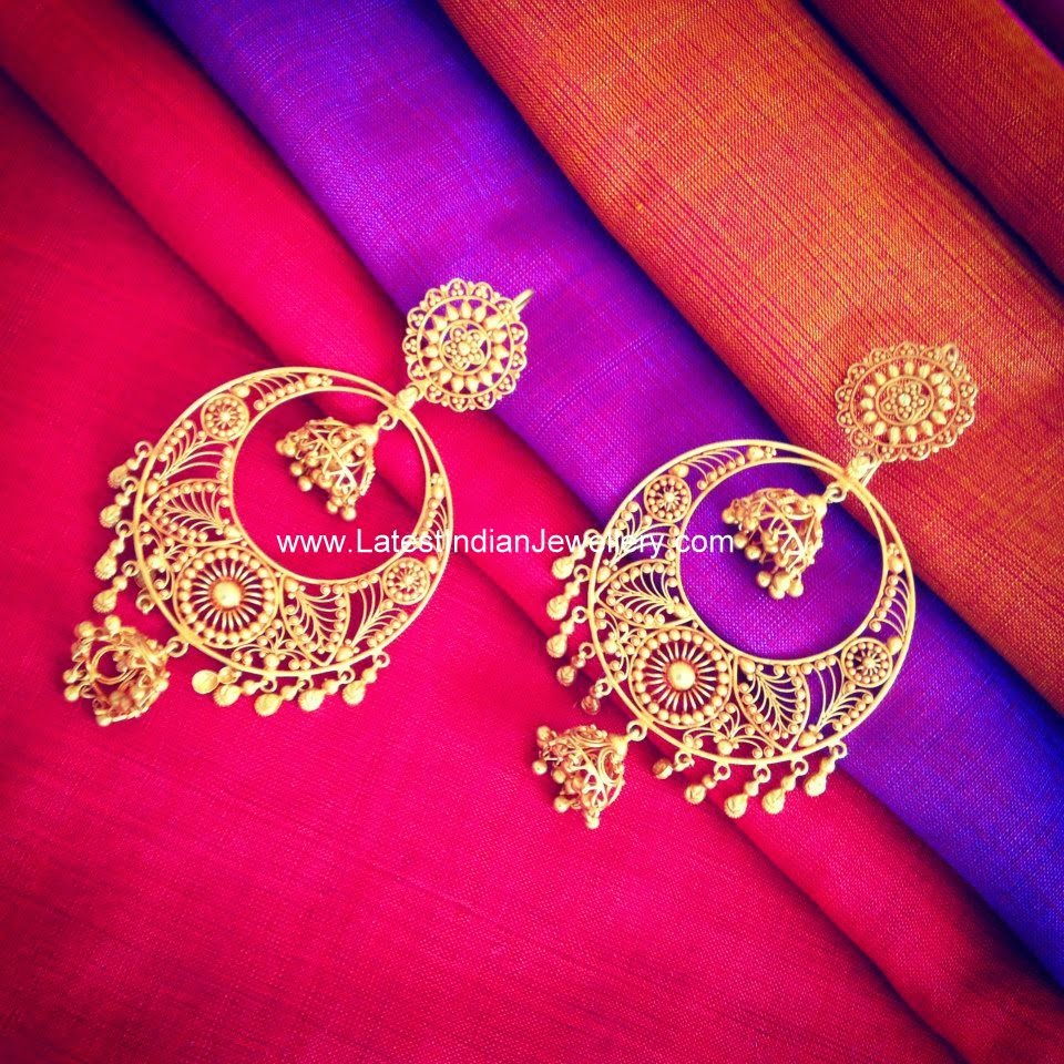 Pure gold chand bali earrings