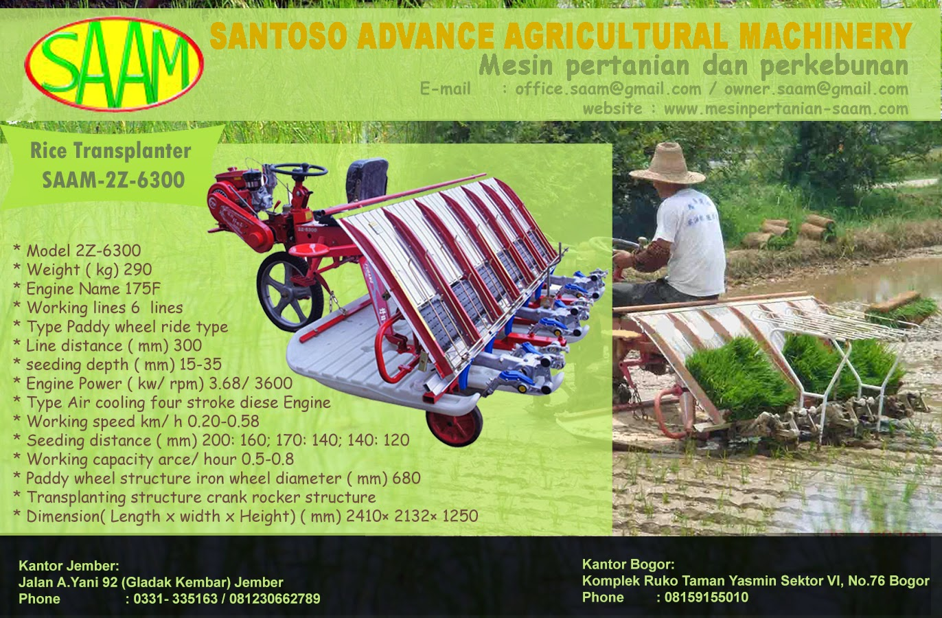 Mesin Tanam Padi Rice Transplanter Saam 2z 6300 Santoso Advance Paket Tudung 1 Pisau Dan Gearcase Transplanting Structure Crank Rocker