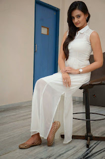 Actress Nikitha Narayan Picture Gallery in White Dress at Ladies and Gentleman Movie Press Meet 28.JPG