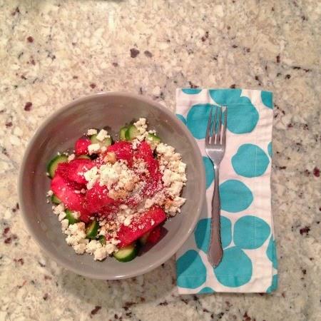 Easy spring salad: watermelon, cucumber, feta & balsamic