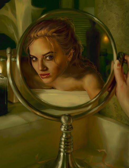 fantasy girl, digital art girl, fantasy mirror