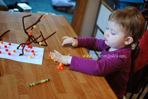 Director Jewels: Easy DIY Kid Craft Tutorial: Autumn Falling Leaves Tree with Pom Poms and Pipe Cleaners