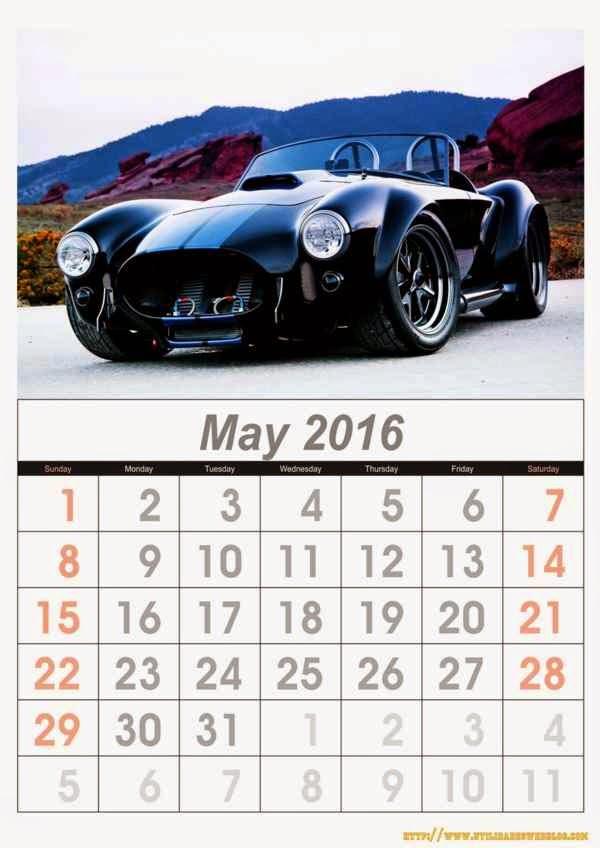 calendario de autos mes de mayo año 2016 listos para imprimir