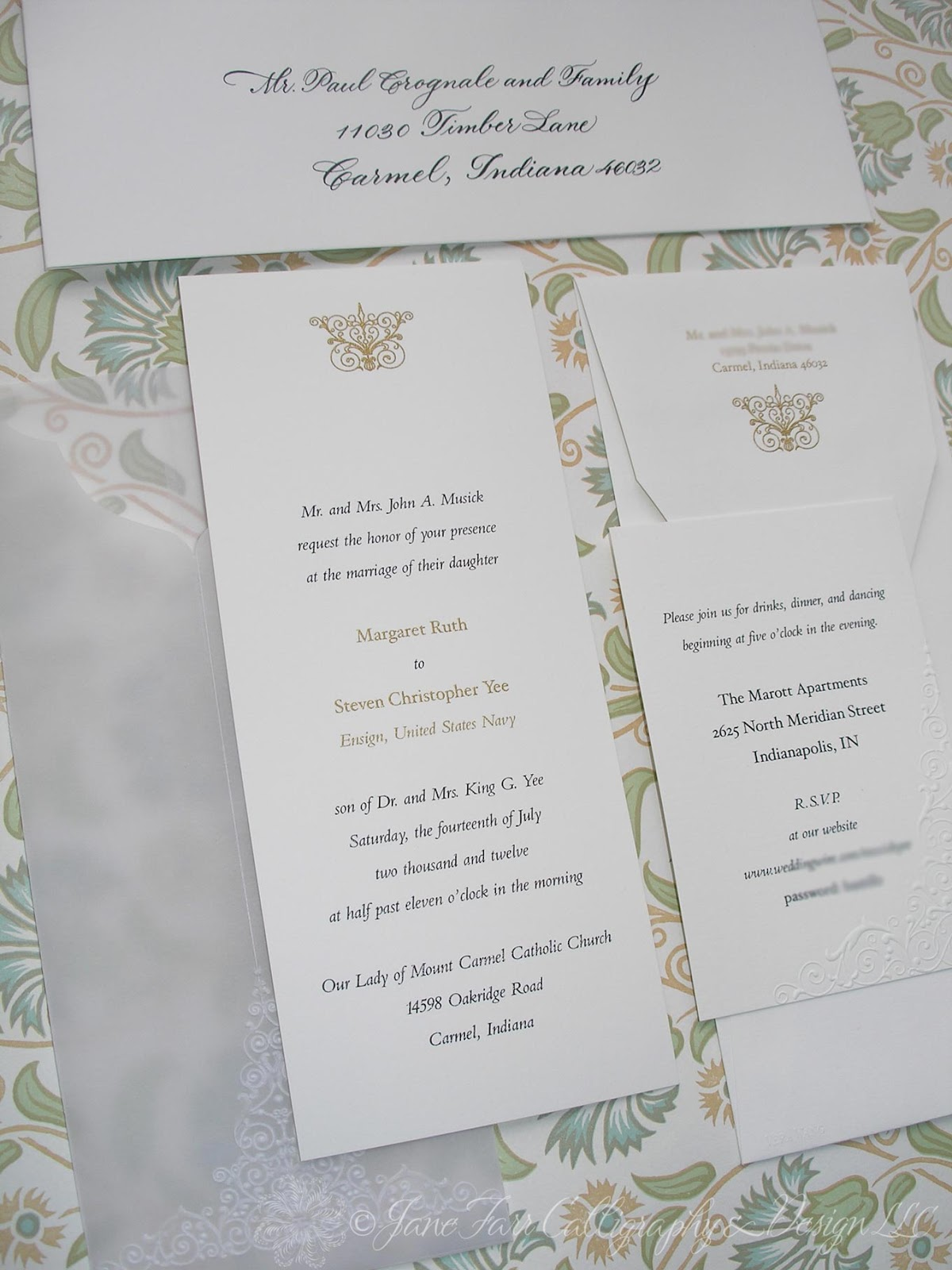 Wedding Calligraphy by Jane Farr: Vera Wang Embossed Wedding Invitations