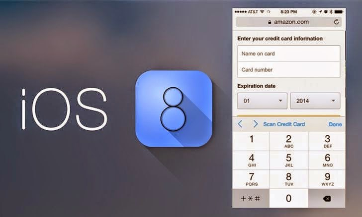 In iOS 8, Apple has a new feature in Safari that allows users to scan a credit card with the device's camera rather than manually entering the number when making a purchase online.