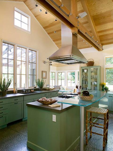 open floor plan vaulted ceiling kitchen living room