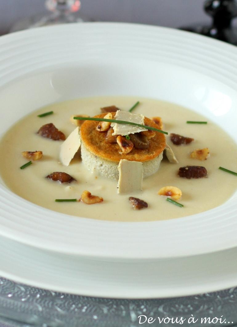 De vous moi petits flans de foie gras sur velout de for Entree legere et originale