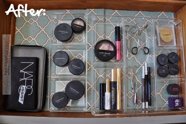 Make Up Drawer Organization - AFTER :: OrganizingMadeFun.com