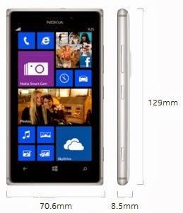 Dimensi Nokia Lumia 925