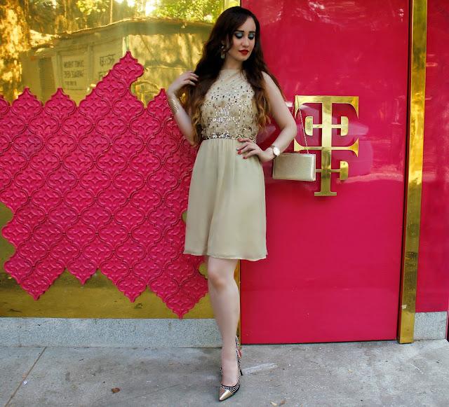 VERO MODA Marquee Gold Sequin Dress, Skater Dress, Gold Rush