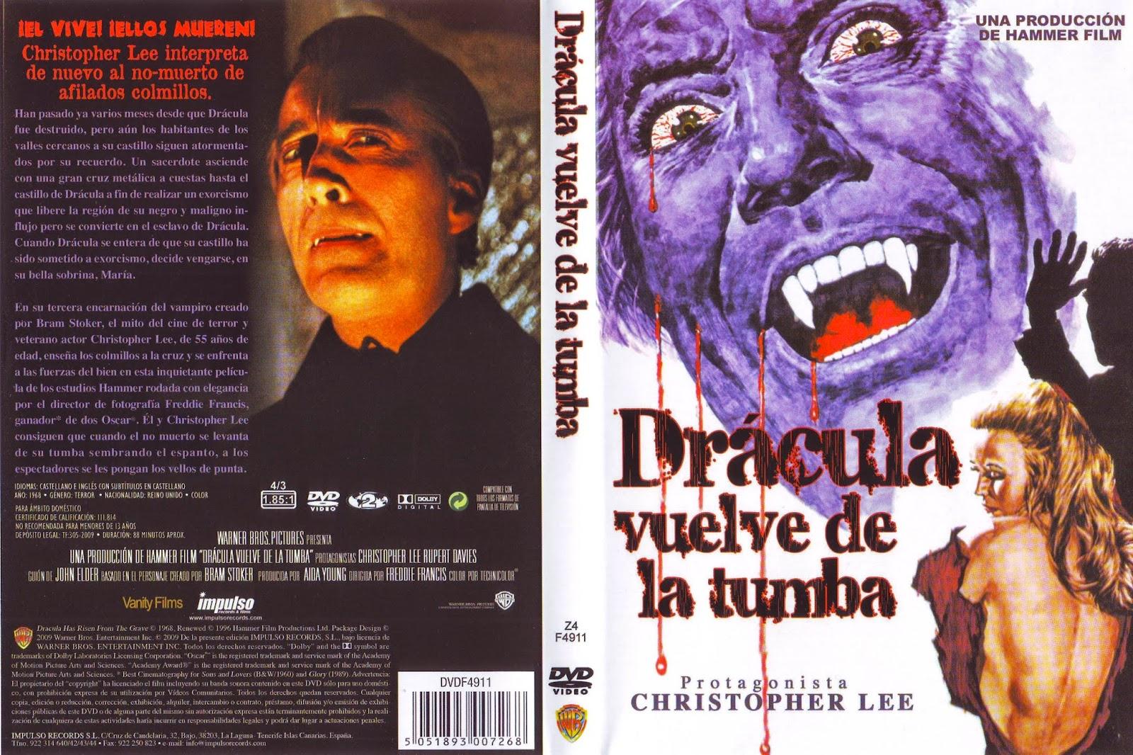 Carátula: Drácula vuelve de la tumba (1968)(Dracula Has Risen from the Grave)