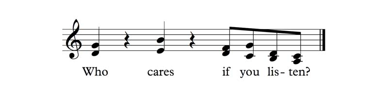 The 'Who Cares If You Listen Theme' from Who Cares If You Listen by David Ocker