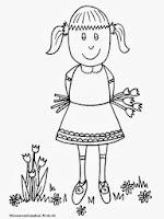 Gambar Mewarnai Anak Perempuan Di Taman Bunga