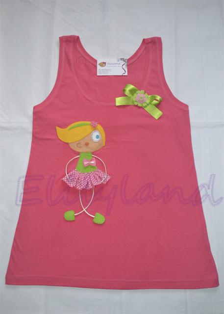 Camiseta Muñeca Topos Rosa y Verde Hecha a Mano