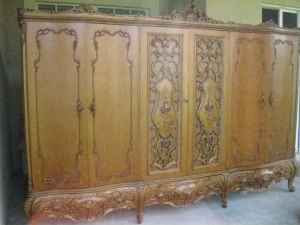 Perfect Antique Mahogany wood wardrobe double armoire from Milan Italy