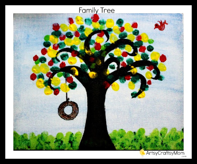 Finger print tree canvas art