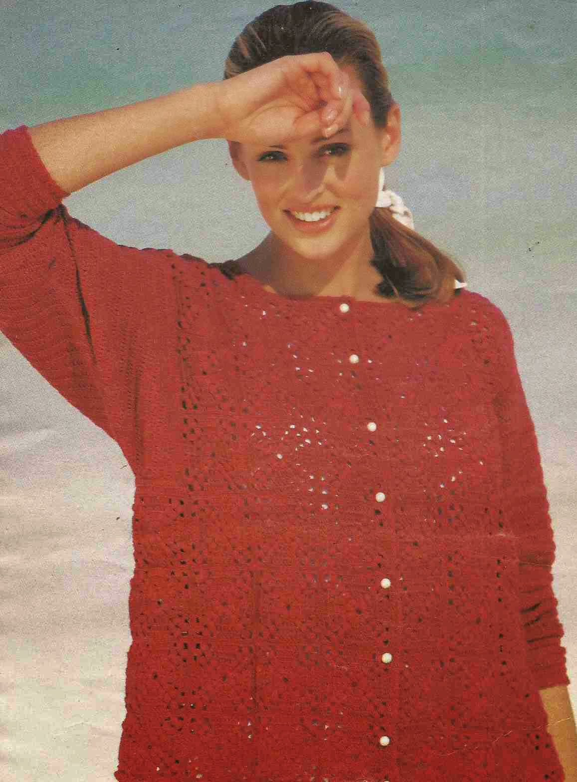 #118 Chaqueta Roja a Crochet o Ganchillo