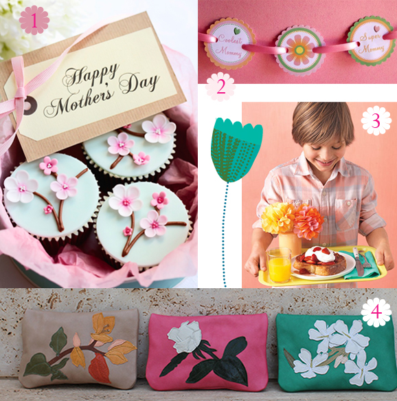 1. cupcakes the cocoaboxblog 2.flower discs birdsparty.com 3.boy with tray babyology.com 4. bags susannahhunter.com