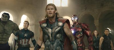 Mark Ruffalo, Chris Evans, Chris Hemsworth, Robert Downey Jr., Scarlett Johansson, and Jeremy Renner in Avengers: Age of Ultron